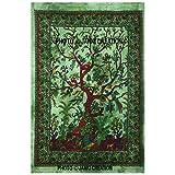 Indische Baumwolle Mandala Hippie Hippie Wandbehang Green Tree of Life Poster Größe 30x 40kleine Größe Poster indischen Bohemian Mandala Hippie Wandbehang Home Decor Picknick Beach Hippie indischen Mandala Poster,