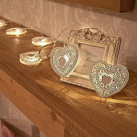 [Cadeau pour Mère]Gledto 10 LED Cœur d'Amour Métallique Guirlande Lumineuse