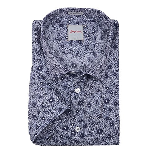 XXL Signum Kurzarmhemd florales Muster dunkelblau-weiß Mehrfarbig
