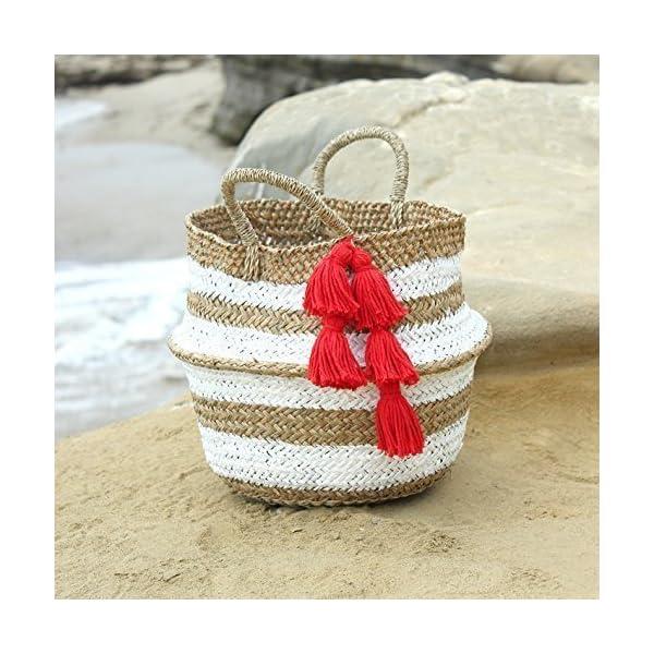 "Brunna Stripes Tribes ""Gaga"" Beach Basket, Beach Tote, Tote Bag, Straw Tote, Straw Bag, Tassel Bag, Tassel Tote, Picnic Bag, Storage Basket, Nursery Basket - handmade-bags"