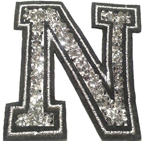 Bügel Iron on Buchstaben Aufnäher Patches groß für Jacken Cap Hosen Jeans Kleidung Stoff Kleider Bügelbilder Sticker Applikation Aufbügler zum aufbügeln N CA 8-10 cm (Jacken Mit Strass-steinen)