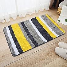 pragoo a righe colorato tappeto del Piso Soft Tappeto Porta antiscivolo bagno ingresso Mat 45* 65cm giallo