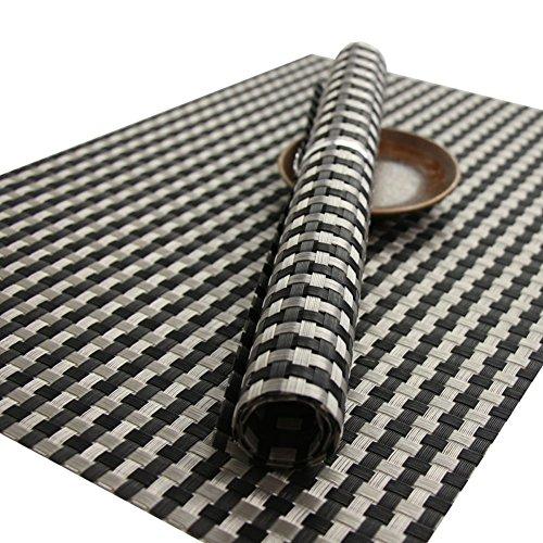 ruivya Bright Farbe rutschsicheren schmutzabweisend Tisch Matten waschbar hitzebeständig PVC gewebten Tischsets für Küche 003Für Küche Set von 4, PVC, braun, 11.8*17.7in (Tischsets Halloween Vinyl)
