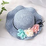 sumerhats Kinder Hut Blume Visor Weibliche Baby Sonnencreme Farbe Sommer Cooler Hut Strand Breite Seite Sonnenhut, Blau, Kindermodelle (50-52cm)