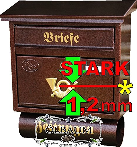 Preisvergleich Produktbild Massivstahl-Briefkasten XXL, verzinkt mit Rostschutz F groß in messing gold goldfarben Zeitungsfach Zeitungen Post antik Mailbox Schild