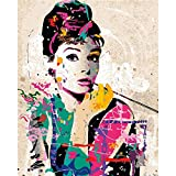 Guume Rahmenlos Frameless Wall Decor Bilder Malen Nach Zahlen Hand Leinwand Gemälde Audrey Hepburn Moderne Abstrakte Ölgemälde 40X50cm