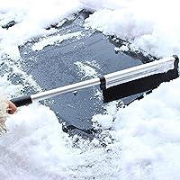 pala de nieve para coche, K-youth® herramienta de limpieza extensible del retiro del cepillo de la nieve de la pala del raspador del coche (Negro)