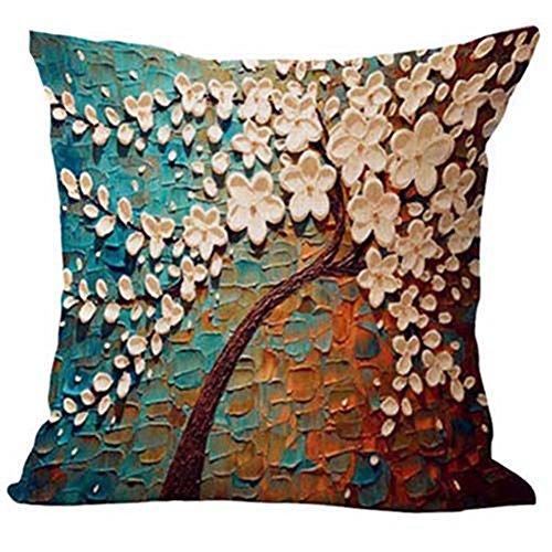 Bluelans Peinture à l'huile Grand arbre et fleur en coton et lin Couvre-lit Taie d'oreiller Housse de coussin Maison Canapé décoratif 45,7 x 45,7 cm - - Taille unique