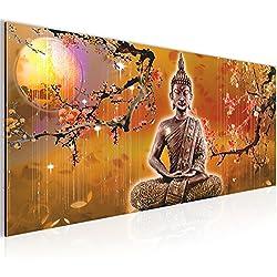 Cuadros de 100 x 40 cm - Buda - Cuadro en lienzo no tejido - Impresión de arte - Imagen para la pared - Más colores y tamaños en la tienda - Listo para colgar ¡100 % FABRICADOS EN ALEMANIA! 500612a