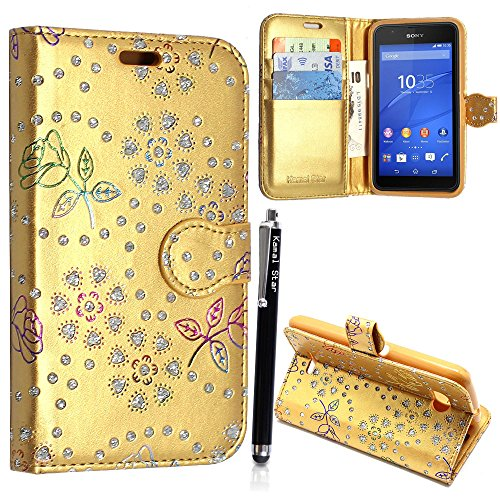 KAMAL STAR® Sony Xperia E4G E2003 E2006 HÜLLE ETUI + STYLUS (Rose Gold Diamond Book)
