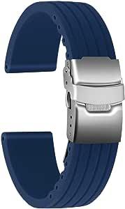 Ullchro Bracelet Montre Haute Qualité Remplacer Silicone Bracelet Montre Stripe Pattern - 16mm, 18mm, 20mm, 22mm, 24mm Caoutchouc Montre Bracelet avec Boucle Déployante Acier Inoxydable
