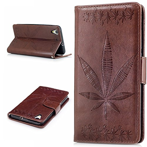 Price comparison product image Huawei Y6 II Case,BONROY® Huawei Y6 II Maple leaf embossed pattern PU Leather Phone Holster Case, Flip Folio Book Case Wallet Cover with Stand Function, Card Slots Money Pouch Protective Leather Wallet Case for Huawei Y6 II