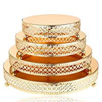 H&D Gold Metal Cake Stand - Cake Plate - Dessert Tray for Wedding Birthday Party Decoration,Set Cupcake Tower Display