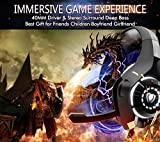 Beexcellent Estéreo Auriculares Gaming PS4 PS3 con Micrófono Luces LED Bass Surround Soft Memory Earmuffs Cancelación de Ruido