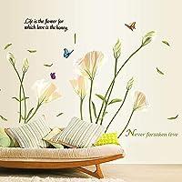 Alicemall Stickers Muraux Blanc Lys Fleur en PVC 3D Autocollants Imperméable à L'eau Adhésif pour Décoration de la…