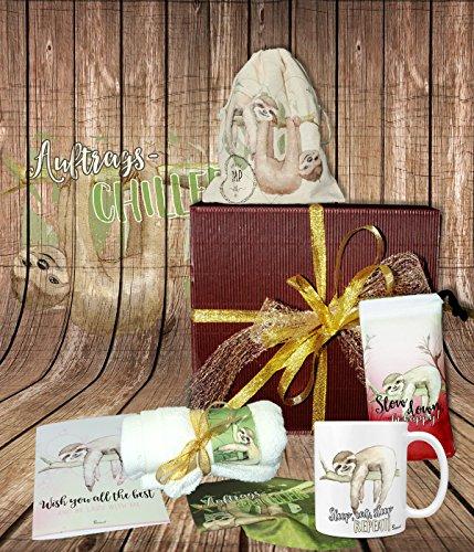 Sunnywall Faultier sloth | gefüllte Geschenkbox Geschenk-Set Tasse, Beutel, Seife, Handtuch, Geschenkkarte Geschenkset – Mitbringsel Geschenkidee Präsentkorb Präsentbox