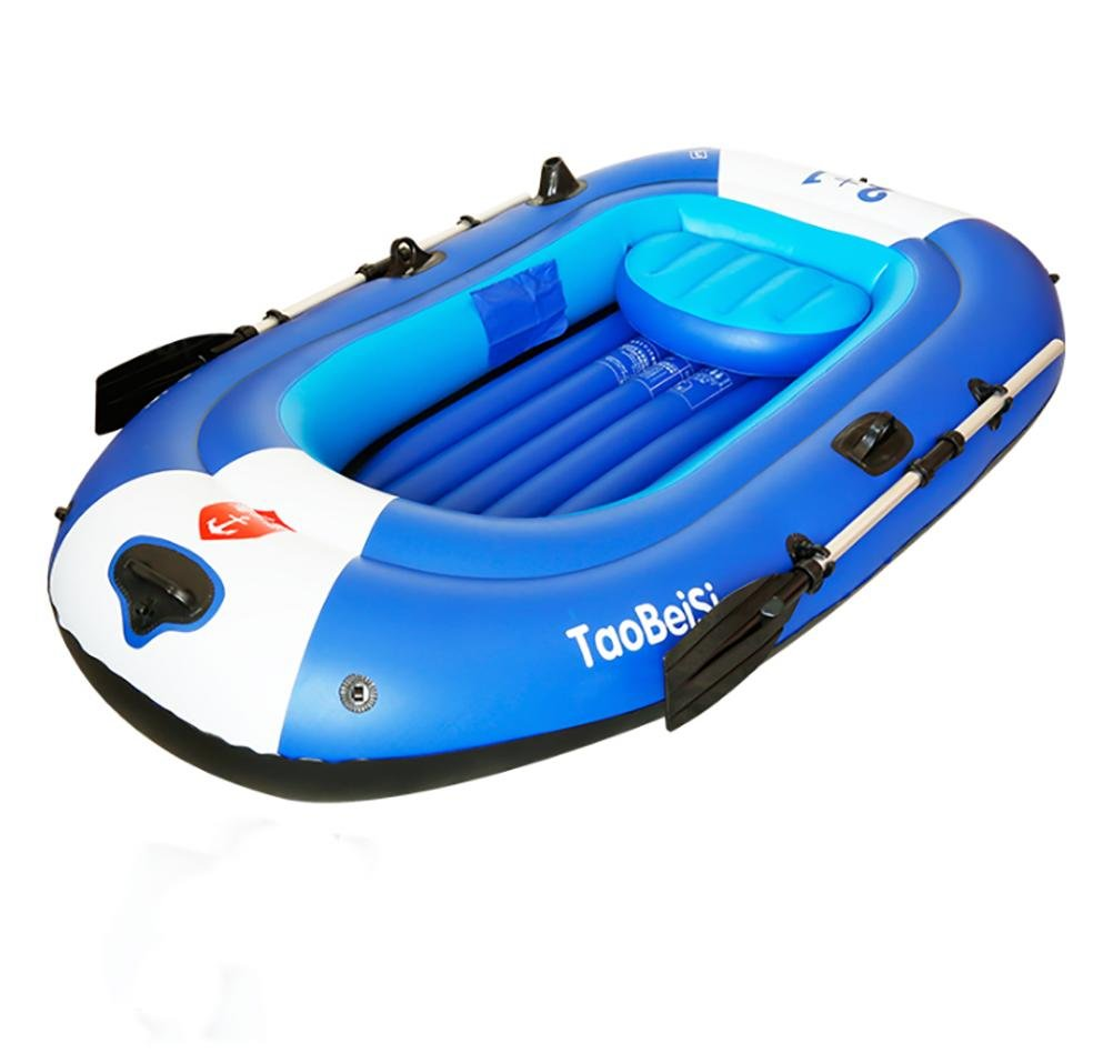POTA 4-Person Inflatable Boat Set with Aluminum Oars and High Output Air Pump 267×140×42CM