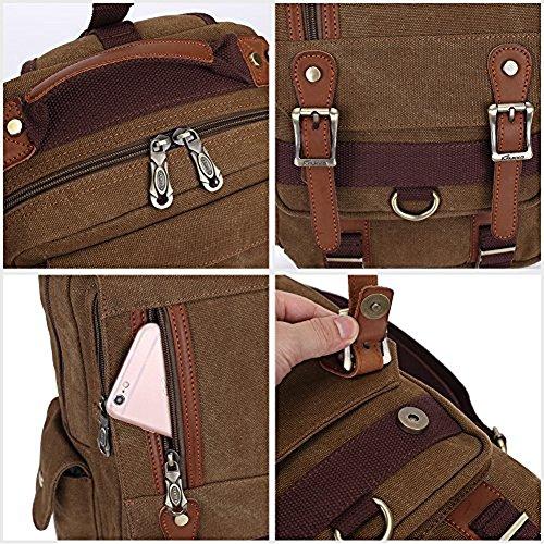 KAUKKO Stylische Tasche Retro Canvas Schultertaschen Sling Bag Outdoor Bauchtasche Reisetaschen Unisex Umhängetasche Handtasche Grau Khaki