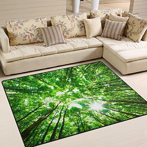 coosun grün Wald, Teppich Teppich rutschfeste Fußmatte Fußmatten für Wohnzimmer Schlafzimmer 160 x 121.9 cm, Textil, multi, 63 x 48 inch -