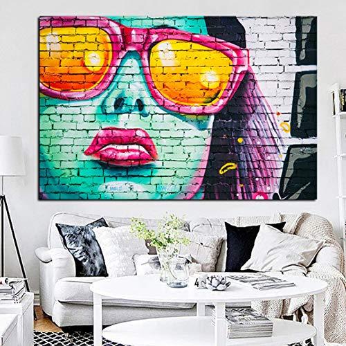 ACYKM HD Print ti Art Frauen Gesicht mit Sonnenbrille Öl Painng auf Leinwand Kunst abstrakte Wand Bild für Wohnzimmer(20x28inch)