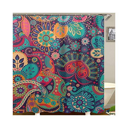 Epinki Polyester Duschvorhang Blumen Drucken Muster Bad Vorhang für Badezimmer CM