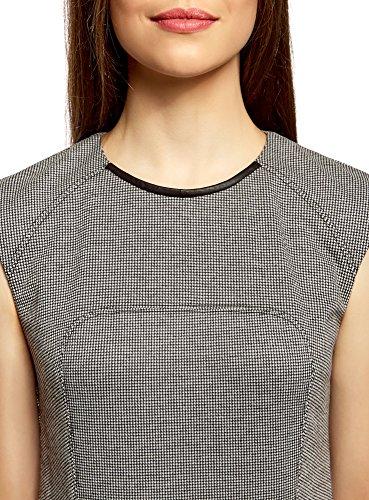 oodji Collection Damen Jersey-Kleid mit Kunstleder-Verzierung Weiß (1029O)