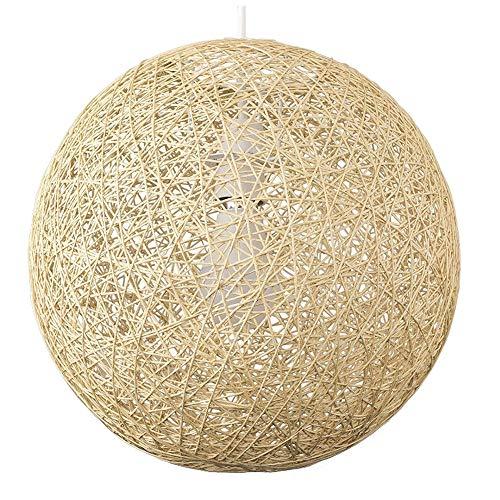 KESAI HomeDeco Moderne pendelleuchte, Holz Rattan hängelampe, e27 lampenfassung, runde Kugel anhänger leuchte für esszimmer Schlafzimmer und Wohnzimmer,Beige