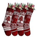 Charlemain Calza di Natale Set 4 Pezzi Calza Natalizia, Decorazione Natalizia da Appendere Candy Sacchetti Regalo per Albero di Natale Festa di Natale Decorazioni 46 * 15cm