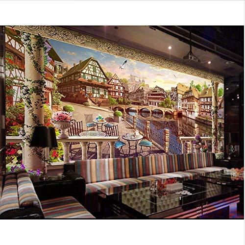Wmbz foto murale personalizzato 3d carta da parati europea città fiume ponte scenario decorazione della stanza pittura 3d murales carta da parati per parete 3d-450x300cm