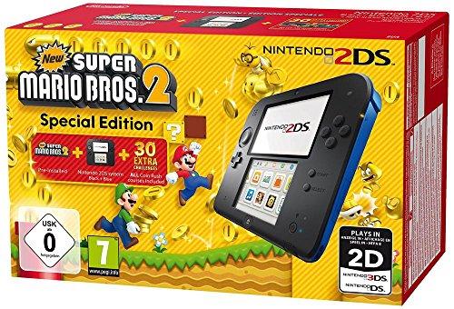Nintendo 2DS - Konsole (schwarz) inkl. New Super Mario Bros. 2 (vorinstalliert) - Pokemon Blau Ds