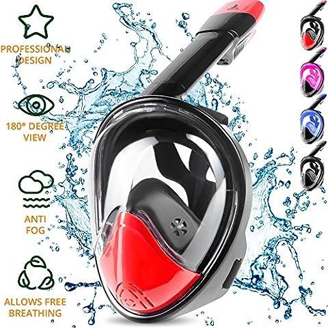Masque Snorkel Intégral – Masque de Plongée Easybreath – Respirez avec votre Nez & Bouche – Sans Étouffements, Amélioration de la Sécurité & de Confort, avec sa Taille Ajustée – Visière Incassable