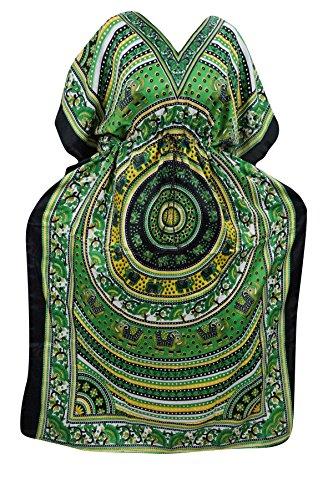 Indiatrendzs Women's Viscose Fabric Animal Print Green Kimono Style Kaftan Dress Chest: 52