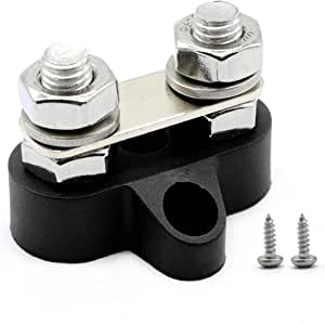 RKURCK M6 Dual Heavy Duty Terminal Stud Power and Ground Junction Block with Connect Link 1//4