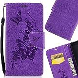 LEMORRY für Huawei Honor Holly 3 Hülle Tasche Ledertasche Beutel Haut Schutz Magnetisch SchutzHülle Weich Silikon Cover Schale für Honor Holly 3 / Huawei Y6 II, Schmetterling Schnitzen Lila
