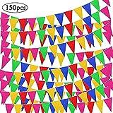 SPECOOL 150pcs Banner Bunting Flags, Banderín Multicolor, Durable y Smoothly Banderas de Nylon para Celebración Eventos Festival Party and Shops Decoraciones de Tela de Nylon