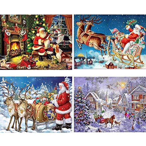 Xurgm 4 Set Diamond Painting, Weihnachts 5d Diamant Painting DIY Weihnachten Mode Stickerei Malerei Kreuzstich Kunstharz Dekoration Kit Kristalle Dekor Handwerk (Bunt, 20 * 30cm) -