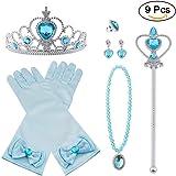 Vicloon 9 Pcs Princesa Vestir Accesorios Regalo Conjunto de Belleza Corona Sceptre Collar Guantes para Niña - Azul