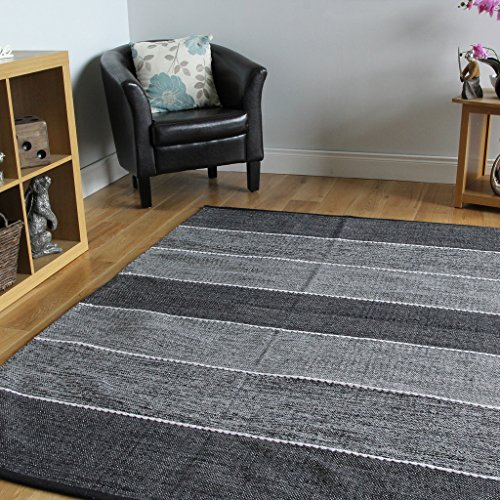 Tappeti moderni per corridoio in cotone tessuto a mano, reversibile, motivo a righe, colore grigio (Cotone Tessuto Piano Tappeto)