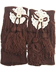 TININNA 1 Par calentadores de la pierna suave Tejer crochet leggins calcetines Medias de punto de arranque de cubierta,Mujeres Chica de favorito-Café