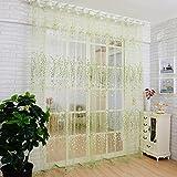 Tende romantiche in voile di tulle, per finestre/mantovane/porte/balconi, decorative, con fiori, 1 m x 2 m, verde, 2 pz