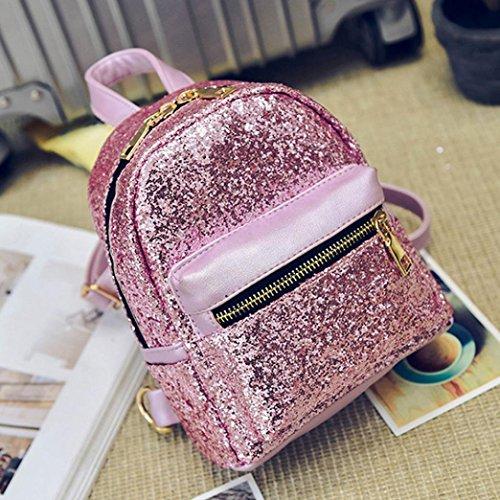 Rucksäcke, Tatis Frauen adrette chic Sequin Schultertasche Rucksack (Pink) Pink