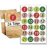 Papierdrachen Adventskalender Set - 24 braune Tüten und 24 Bunte Zahlenaufkleber - zum selber basteln und zum befüllen - Mini Set 5