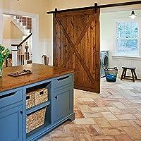 hahaemall interno moderno singolo scorrevole in legno Barn Door Hardware Kit Asta Track, Nero In (Singolo Barndoor)