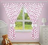 Luxus Deko Vorhänge für Baby-Raum passenden mit Unser Kindergarten Betten Sets (Big Pink Sterne auf weiß Hintergrund)