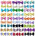 BIPY Pet Hair Bows with Rubber Bands Small Dog Cat Puppy Topknot Assorted Grooming Product Color Random from BIPY