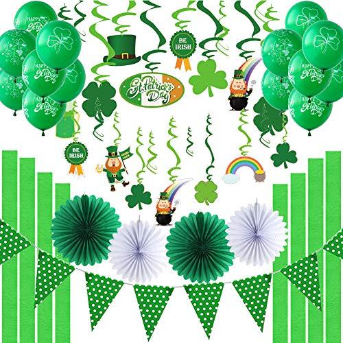 Easy Joy St.Patrick's Day Dekoration Party Deko Klee Spiralen Kleeblätter Luftballons Grün Girlande (St Party Patricks Day)