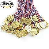 Cusfull 36 pezzi Medaglie di vincitore di plastica bambini oro medaglie in plastica Sport giorno Premi giocattoli Party Golden Awards per bambini Partita sportiva, concorrenza, giochi