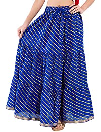 DISHA Cotton Lahriya Printed Straigh Long Skirt For Women (size: Length- 39 Inches) Waist- Non Stretch- 26 X After...