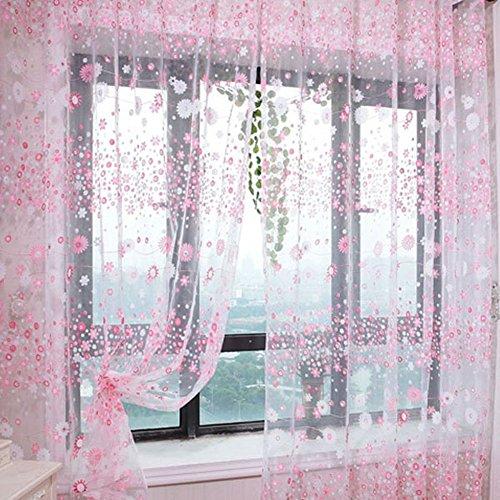 100 x 200cm paese floreali di stile trafitto tulle porta finestra tenda drappeggio pura rosa