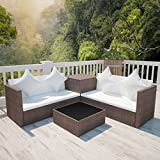 Festnight Polyrattan Gartenmöbel Set Gartengarnitur Sitzgruppe Lounge Garnitur Braun
